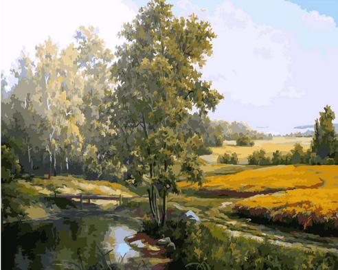 Картина по номерам 40x50 Деревянный мост через реку у поля пшеницы