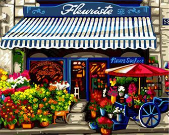 Картина по номерам 40x50 Цветочный магазинчик