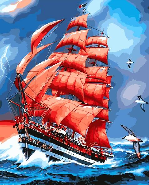 Картина по номерам 40x50 Красный корабль в шторме