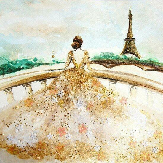 Картина по номерам 40x50 Девушка в свадебном платье смотрит на Эйфелеву башню