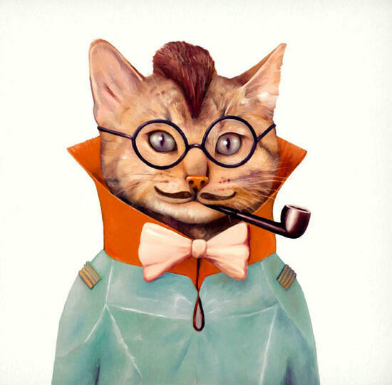 Картина по номерам 40x50 Кот в очках курит трубку