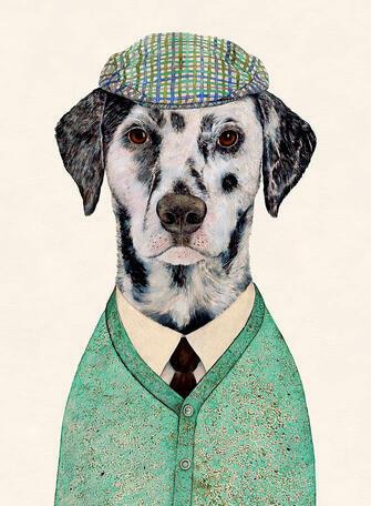 Картина по номерам 40x50 Далматинец в кепке