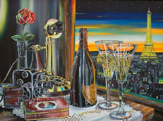 Картина по номерам 40x50 Шампанское и телефон с видом на Эйфелеву башню