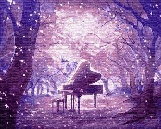 Картина по номерам 40x50 Рояль в сверкающем лесу