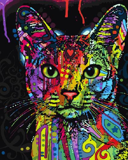 Картина по номерам 40x50 Радужная кошка