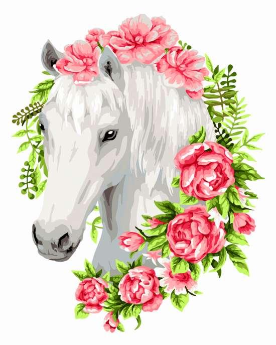 Картина по номерам 40x50 Белый конь в розах