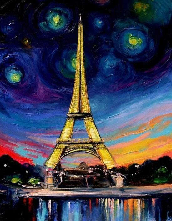 Картина по номерам 40x50 Большие звёзды над Эйфелевой башней