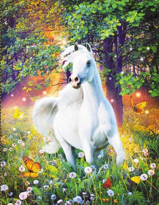Алмазная мозаика 40x50 Белая лошадь на поляне с одуванчиками