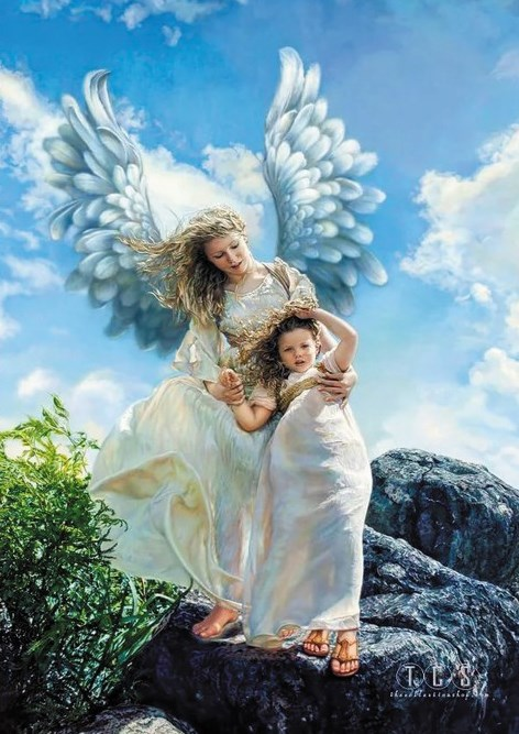 Алмазная мозаика 30x40 Два ангела на скалистом камне