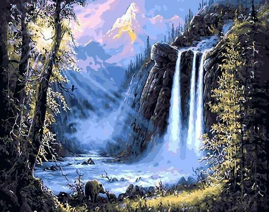 Алмазная мозаика 40x50 Рассвет в горах