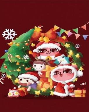 Картина по номерам 20x30 Розовые герои под новогодней елкой