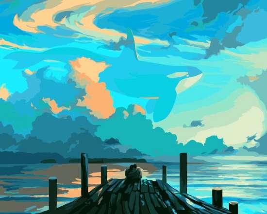 Картина по номерам 40x50 Причал и голубое небо