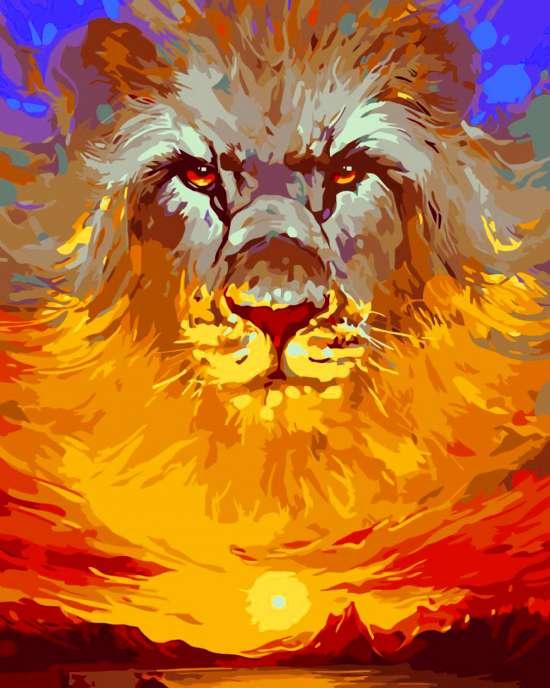 Картина по номерам 40x50 Дух льва над заходящим солнцем