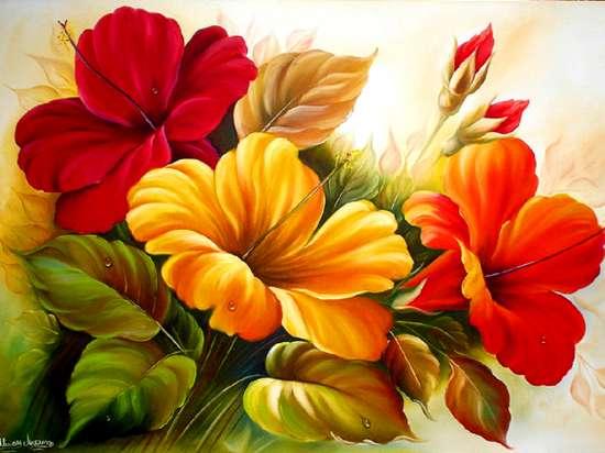 Алмазная мозаика частичная выкладка 21x25 Цветы гибискуса