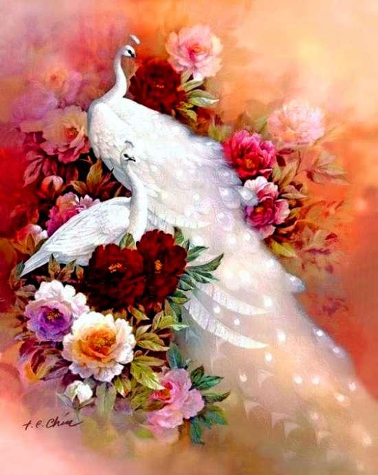 Алмазная мозаика частичная выкладка 21x25 Белоснежные павлины на цветах