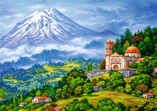 Алмазная мозаика 40x50 Дом с видом на заснеженную гору