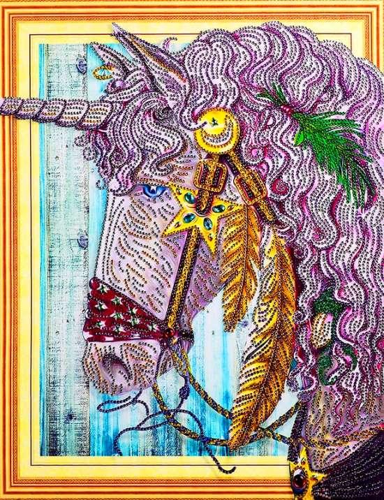 Алмазная мозаика 5D 40x50 Розовый единорог со звездой