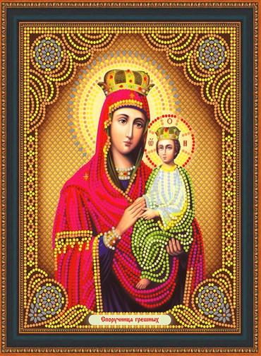 Алмазная мозаика частичная 27x33 Икона Споручница грешных