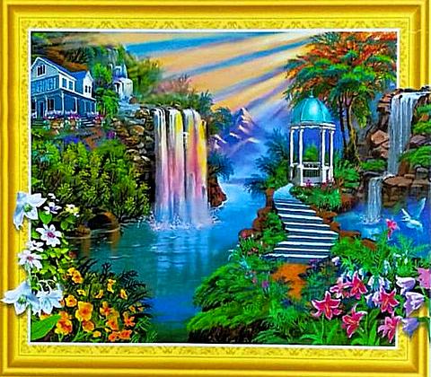 Алмазная 3D мозаика 40x50 Дом у водопадов