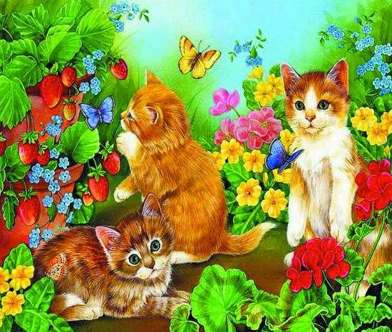 Алмазная мозаика 40x50 Котята играют в домашнем саду