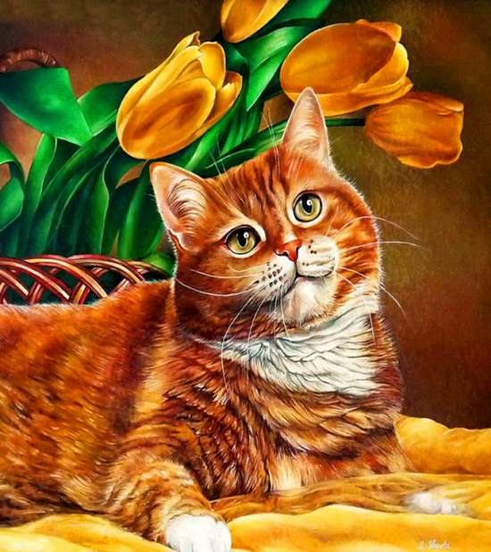 Алмазная мозаика 40x50 Рыжий котик возле тюльпанов
