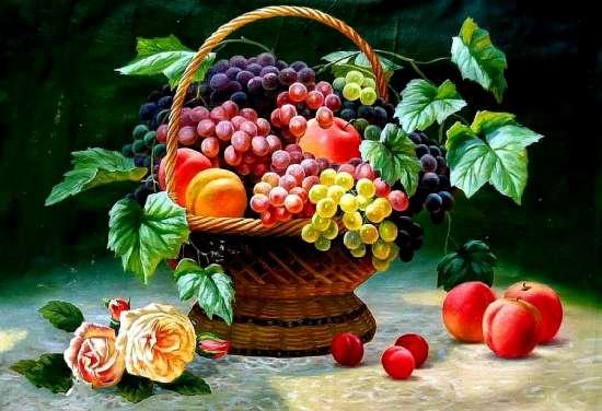 Алмазная мозаика 40x50 Натюрморт с корзиной фруктов и розами