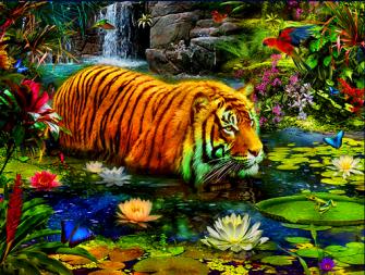Алмазная мозаика 40x50 Тигр среди цветущих лотосов
