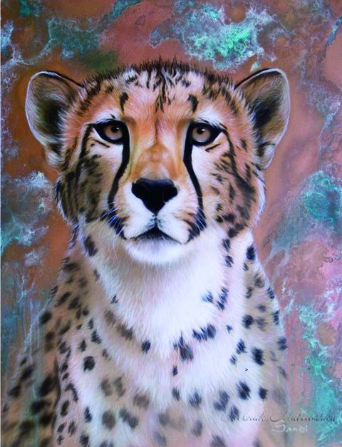 Алмазная мозаика 30x40 Молодой пушистый леопард