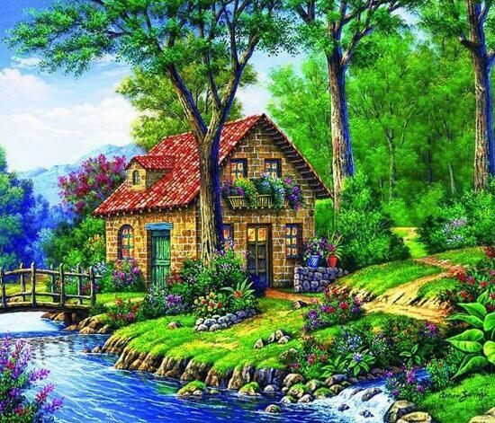 Алмазная мозаика 30x40 Каменный домик у мостика через ручей