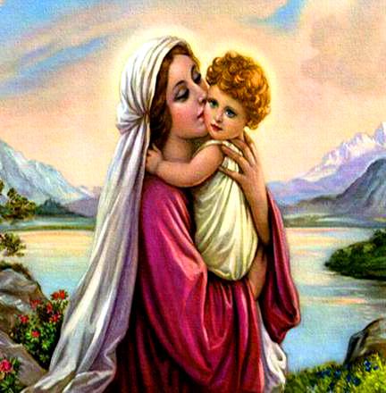 Алмазная мозаика 30x40 Мать с ребенком на фоне горного озера