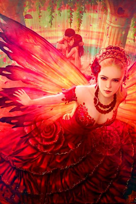 Алмазная мозаика 30x40 Краснокрылая фея