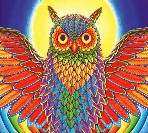 Алмазная мозаика 40x50 Разноцветная сова на фоне солнца