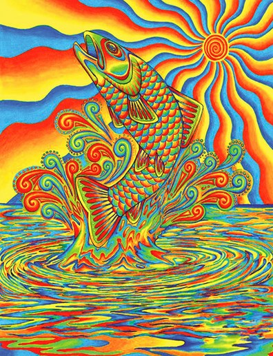 Алмазная мозаика 40x50 Разноцветная картина с рыбой