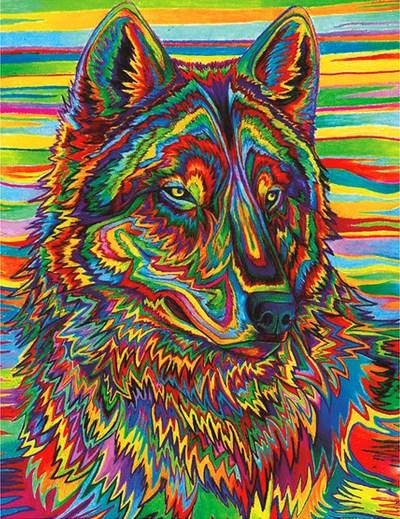 Алмазная мозаика 30x40 Волк в разноцветном окрасе