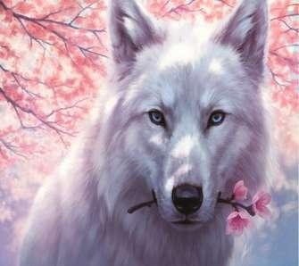 Алмазная мозаика 40x50 Волк с веткой сакуры в зубах