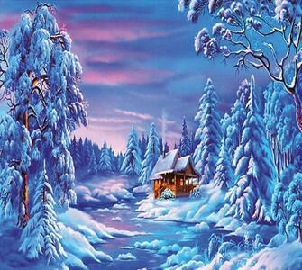 Алмазная мозаика 40x50 Дачный домик в заснеженном лесу