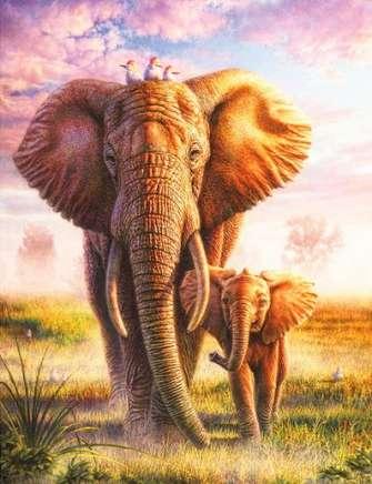 Алмазная мозаика 40x50 Слониха и слоненок прогуливаются по пустыни