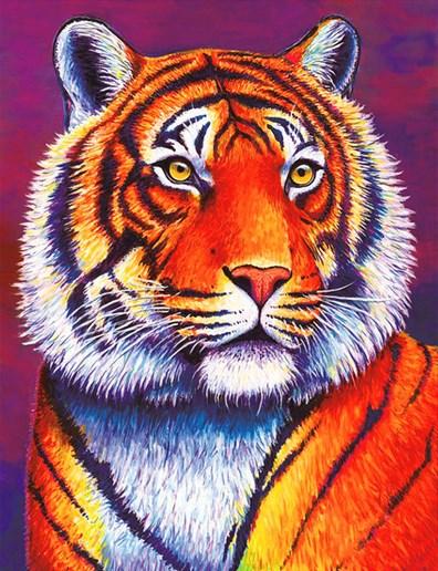 Алмазная мозаика 30x40 Благородный тигр на фиолетовом фоне