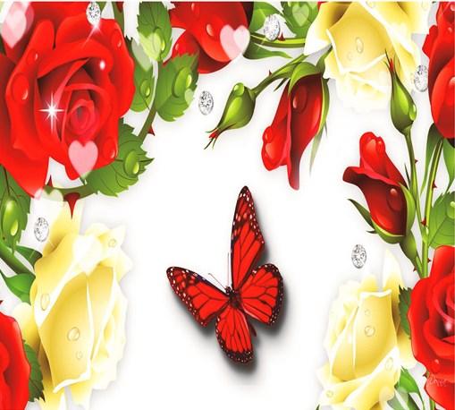 Алмазная мозаика 40x50 Бабочка среди белых и красных роз