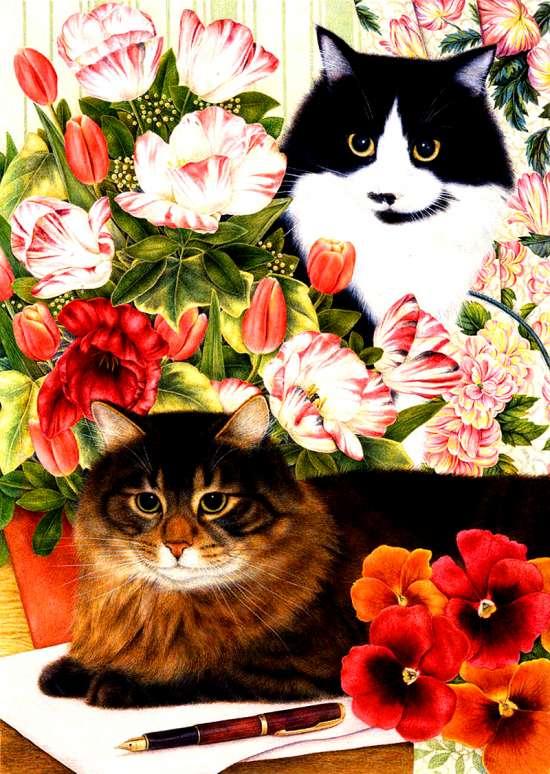 Алмазная мозаика 30x40 Коты на письменном столе с цветами