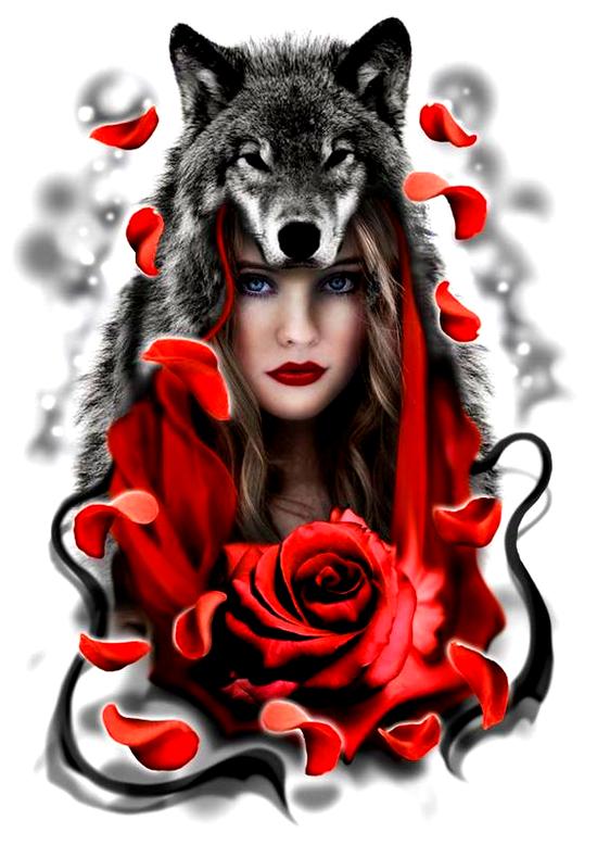 Алмазная мозаика 30x40 Девушка в волчьей шкуре и роза