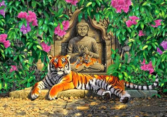 Алмазная мозаика 30x40 Будда и тигриное семейство