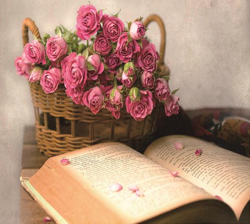 Алмазная мозаика 30x40 Книга и корзина роз