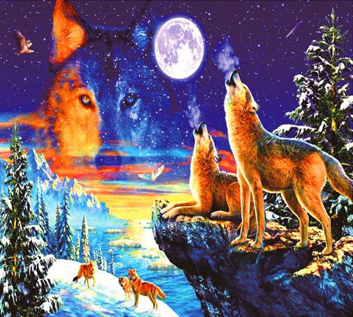 Алмазная мозаика 30x40 Вой волков у зимнего моря