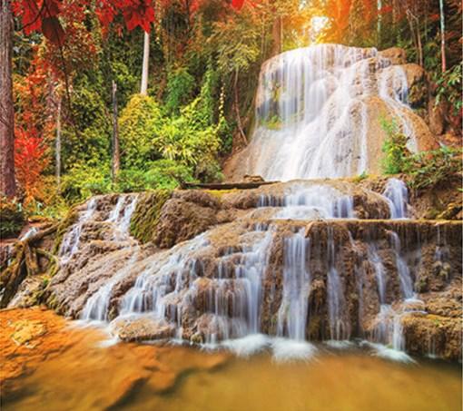 Алмазная мозаика 30x40 Высокий каскадный водопад