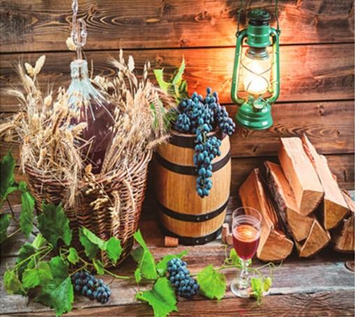 Алмазная мозаика 30x40 Натюрморт с вином, виноградом и дровами