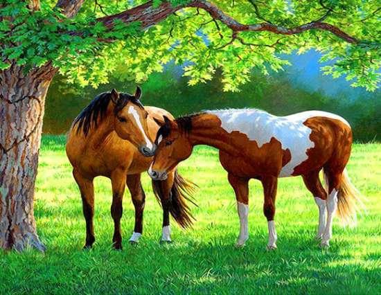 Алмазная мозаика 40x50 Лошади на зеленом лугу