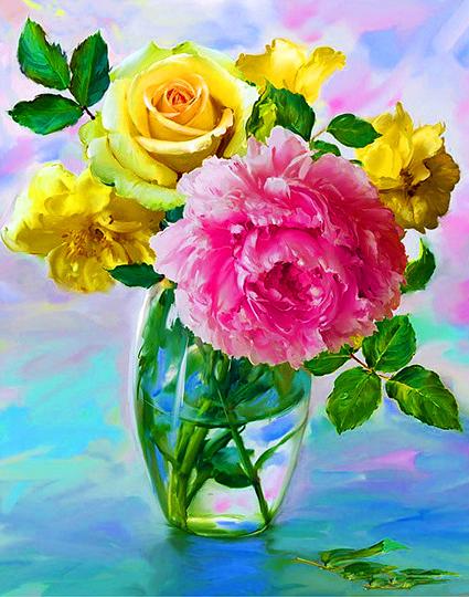Алмазная мозаика 40x50 Пион и желтые розы в одном букете