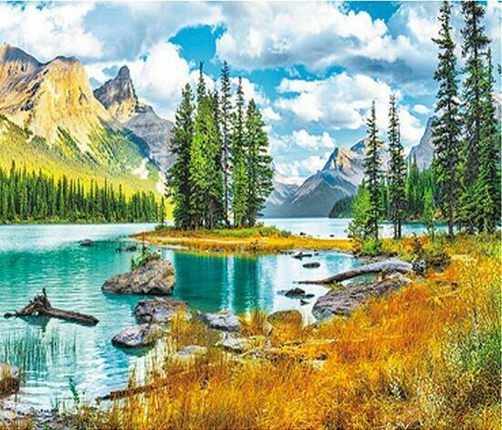 Алмазная мозаика 40x50 Летний берег горного озера