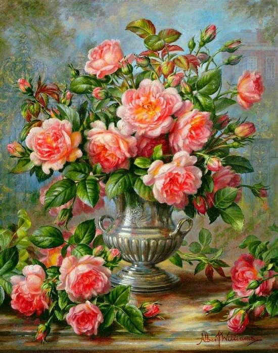 Алмазная мозаика 40x50 Букет розовой кустовой розой